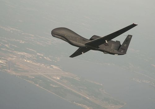 A RQ-4 Global Hawk unmanned aerial vehicle conducts tests over Naval Air Station Patuxent River, Maryland.