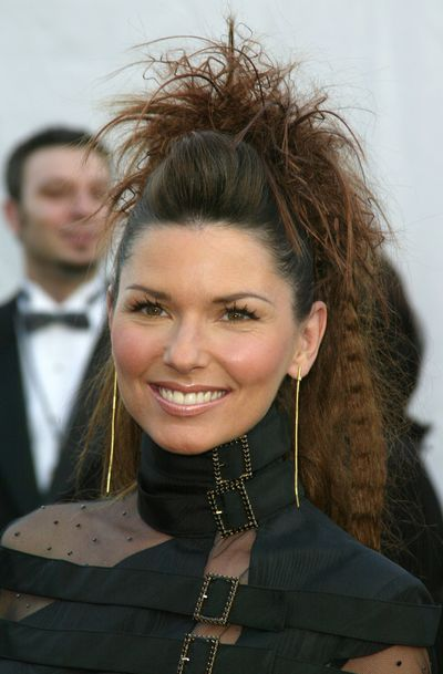 <p>The Man! I feel like a woman singer went for a bold beauty hairdo at the 2003 American Music Awards.She wore her messy pony with a poof at the crown, and its tail was a mix of straight, crimped, and curled pieces. </p>