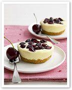 Cherry and white chocolate cheesecakes