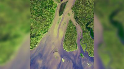 """The western-most part of the Ganges Delta is seen in this 54.5 by 60 km ASTER sub-scene acquired on January 6, 2005. The Hugli River branches off from the Ganges River 300 km to the north, and flows by the city of Calcutta before emptying into the Bay of Bengal."" (NASA/METI/AIST/Japan Space Systems, and U.S./Japan ASTER Science Team)"