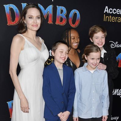 Angelina Jolie with four of her children