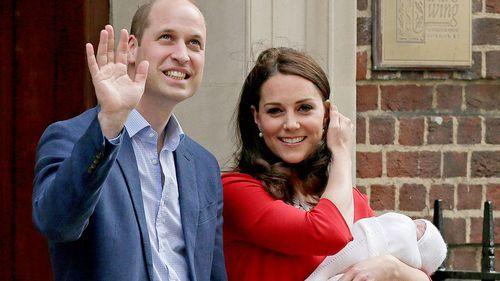The Duke and Duchess of Cambridge introduce their new son to the world, an hour after Princess Charlotte and Prince George. (PA/AAP)