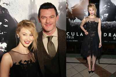 Co-stars Sarah Gadon and Luke Evans pose for snaps at the New York premiere of <i>Dracula Untold</i>.