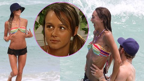Ex-<i>Home and Away</i> star Sharni Vinson looks scary-skinny on the beach with Kellan Lutz