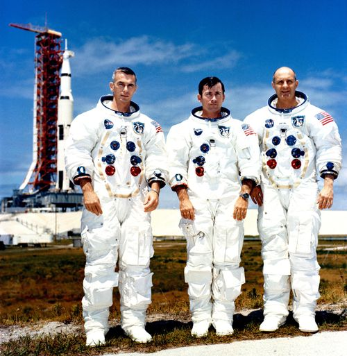 A handout photo made available by NASA shows the crew of Apollo 10 (L-R) Eugene Cernan, John Young and Thomas Stafford photographed while at the Kennedy Space Center (KSC), Florida, USA, 13 May 1969. (NASA)