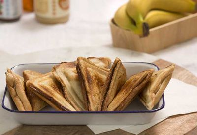 "Recipe: <a href=""https://kitchen.nine.com.au/2016/05/20/11/07/banana-jaffle-combos-cashew-butter-nutella-honey"" target=""_top"">Banana jaffle combos (cashew butter, Nutella, honey)</a>"