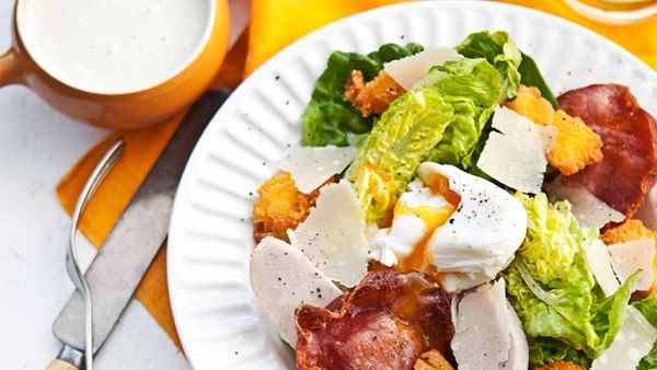 Smoked chicken Caesar salad with polenta croutons