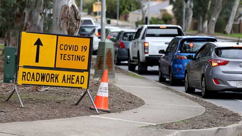 Traffic queued at the pop up Covid-19 testing site at Waterworld in Ridgehaven in Adelaide, South Australia.