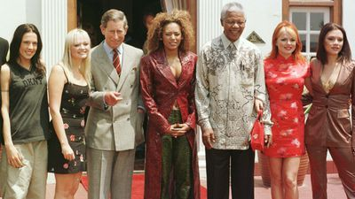 <p>Here, the Spice Girls pose with Nelson Mandela and Prince Charles in South Africa in 1997. </p> <p>As well as their music, they released merchandise, toured extensively, and starred in the <em>Spice World</em> movie.</p>
