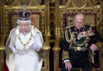 Queen Elizabeth delivers her speech in Parliament with Prince Philip by her side in 2016.
