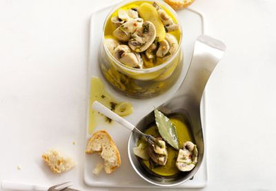"Recipe: <a href=""/recipes/imushroom/8348751/marinated-mushrooms"" target=""_top"">Marinated mushrooms</a>"
