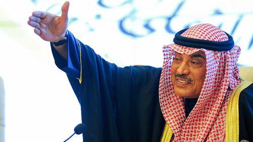 Kuwait Foreign Minister Sabah Al-Khalid Al-Hamad Al-Sabah  makes a point at the GCC meeting. (Photo: AP).