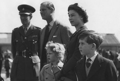 Queen Elizabeth with Prince Anne and Prince Charles the year of their vaccination.