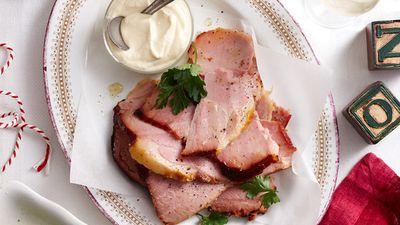 Leg ham slices with aioli