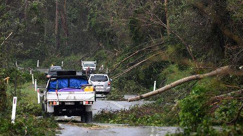 Cars negotiate tree debris on the road between Airlie Beach and Shute Harbour. (AAP)