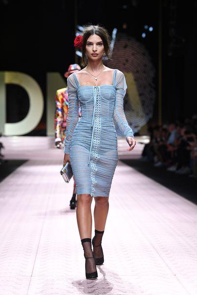Emily Ratajkowski walks the runway at the Dolce & Gabbana show during Milan Fashion Week Spring/Summer 2019 on September 23, 2018 in Milan, Italy.