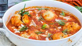 Seafood stew with fluffy dumplings