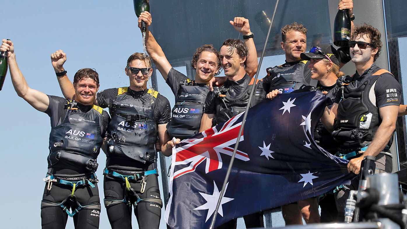 Day2 of racing, Australia SailGP Team helmed by Tom Slingsby with team mates Kyle Langford, Ed Powys, Nick Hutton and Rhys Mara celebrate winning the The Great Britain SailGP