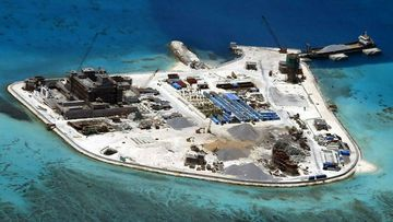 An aerial view of construction at Mabini (Johnson) Reef by China, in the disputed Spratley Islands, in the south China Sea.