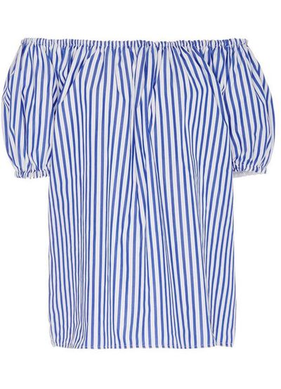 "<a href=""https://www.modaoperandi.com/mds-stripes-r16/blue-and-white-cotton-striped-short-sleeve-peasant-top"" target=""_blank"">Top, $345, MDS Stripes, M'oda 'Operandi</a>"