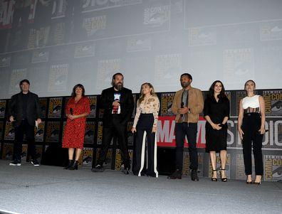 Kevin Feige, Cate Shortland, David Harbour, Florence Pugh, O. T. Fagbenle, Rachel Weisz, Scarlett Johansson, Black Widow