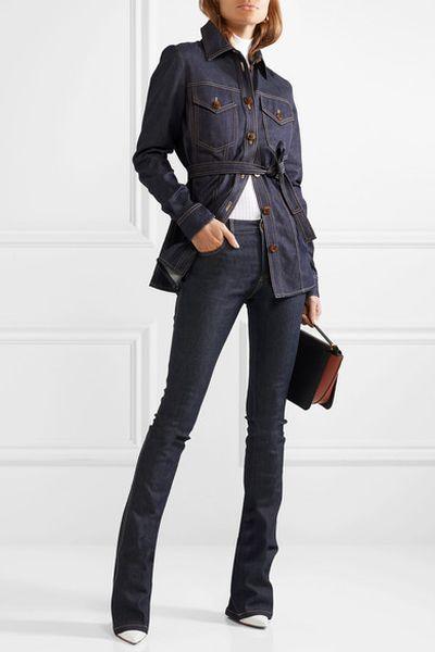 "<p>Exact Match</p> <p><a href=""https://www.net-a-porter.com/au/en/product/1067504/Victoria,_Victoria_Beckham/mid-rise-flared-jeans"" target=""_blank"" title=""Victoria, Victoria Beckham Mid-Rise Flared Jeans, $423.40"" draggable=""false"">Victoria, Victoria Beckham Mid-Rise Flared Jeans, $423.40</a><br> <a href=""https://www.net-a-porter.com/au/en/product/1067510/victoria__victoria_beckham/belted-denim-shirt"" target=""_blank"" title=""Victoria, Victoria Beckham Belted Denim Shirt, $677.97"" draggable=""false"">Victoria, Victoria Beckham Belted Denim Shirt, $677.97</a></p>"