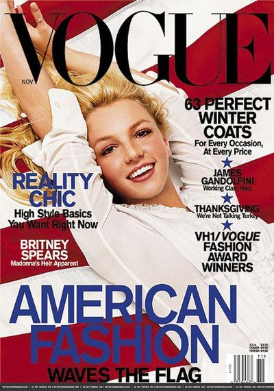 <p>Britney Spears on the cover of US Vogue, Nov 2001 by Herb Ritts</p>