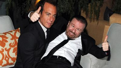 January 12, 2014: Actors Will Arnett and Ricky Gervais strike a pose at The Weinstein Company and Netflix's 2015 Golden Globes After Party in Beverly Hills, California. <br><br> Photo by Angela Weiss, Getty Images for TWC.
