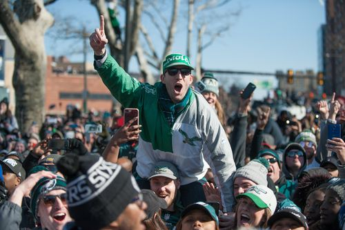 More than one million fans brave the cold to watch the parade in Philadelphia (AAP)
