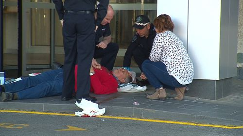 A Salvation Army volunteer fell and hit his head, prompting a rush of responders.