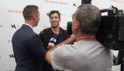 """9NEWS' Clint Stanaway speaks with Daniel Ricciardo about legend Ron Walker who he said """"inspired him"""" to do great things. (9NEWS)"""