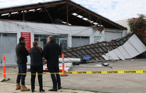 The roof of a tyre business in Cranbourne, Victoria collapsed Friday amid wild winds.