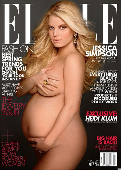 <strong> Jessica Simpson</strong> joined the ranks of pregnant celebs in the buff on a 2012 Elle cover.