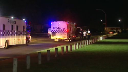 No officers were injured but a car windscreen was damaged. (9NEWS)