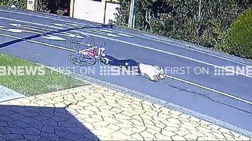 9RAW: Cyclist becomes tangled in rope before being dragged hundreds of metres by truck