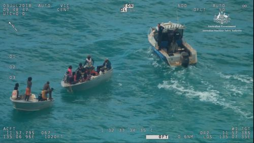 The group were eventually sighted at 2.25pm on Tuesday - more than 24 hours after they set off. Picture: AMSA