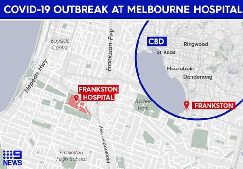 Location of Frankston Hospital, in Melbourne, Victoria, where a new cluster outbreak has occurred.