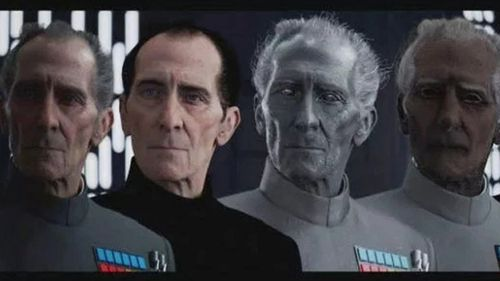 Late actor Peter Cushing was resurrected as Imperial officer Grand Moff Tarkin in Rogue One. Source: Lucasfilm
