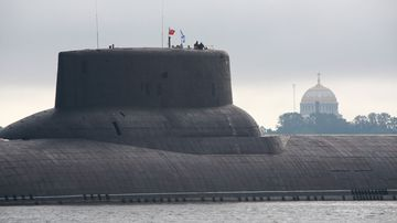 A nuclear ballistic missile submarine enters St Petersburg in July 2017. Photo: Getty Images
