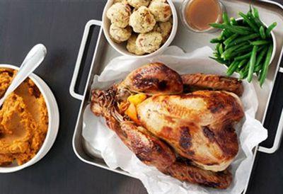 Honey-glazed turkey with orange-pecan stuffing