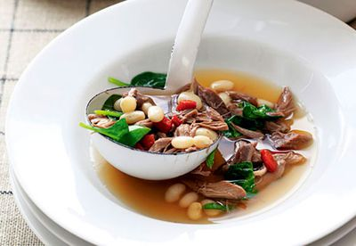 """Recipe:<a href=""""/food/790790/slow-cooked-lamb-and-white-bean-soup"""" target=""""_top"""" draggable=""""false"""">Slow-cooked lamb and white bean soup<br /> </a>"""
