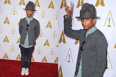 Pharrell Williams brings back his infamous GRAMMYs hat! His hit song, 'Happy' is up for Best Original Song for <i>Despicable Me 2</i>.