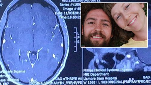 Joel North and Anita with MRI scan