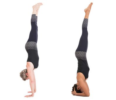 Yoga handstand and headstand