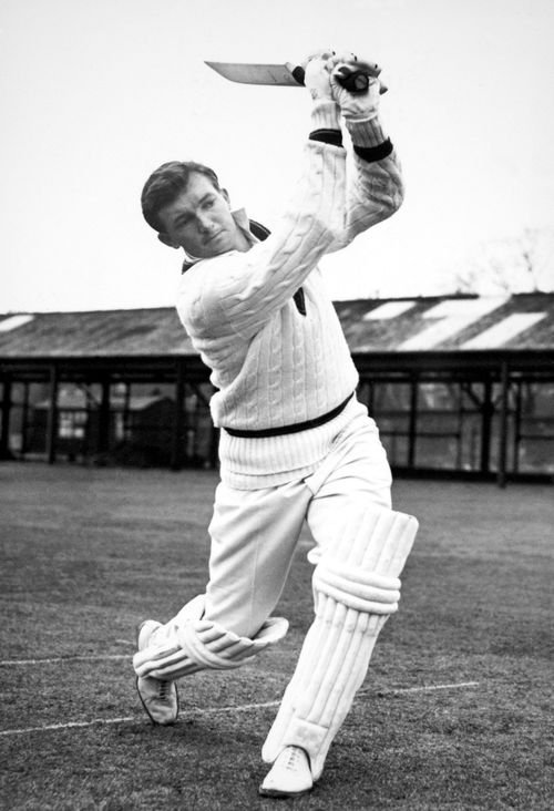 An undated photo of Richie Benaud practicing in the nets.(AAP)