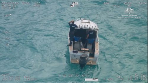 """Sergeant Hocking from the the Water Police Section said it was a """"very close call"""" that the boat was found at all. Picture: AMSA"""