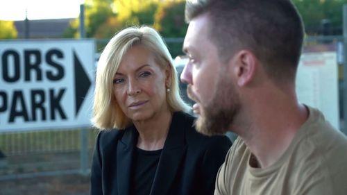 Reporter Liz Hayes with Jones.
