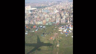 A shot of a rudimentary tent city in Kathmandu. (Twitter: FarhanDanish)