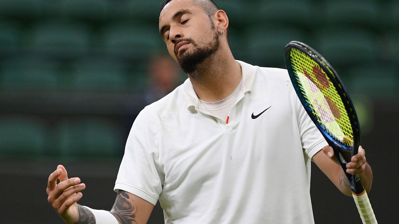 The first round match between Nick Kyrgios and Ugo Humbert has been suspended due to Wimbledon's curfew.
