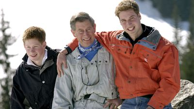 Prince Charles, Prince William and Prince Harry on a skiing trip
